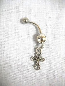 NEW RELIGIOUS CHRISTIAN CROSS SILOUETTE CHARM CZ BELLY BUTTON RING NAVEL JEWELRY