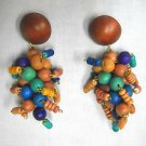 CHUNKY CLUSTER DROP BROWN BLUE PURPLE TAN COLOR BEADS DANGLING POST EARRINGS
