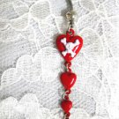 SALE RED LONG POISON HEART / HEARTS & DROPLET w SKULL & CROSSBONES BELLY BUTTON BAR