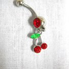 VIVA LAS VEGAS SLOTS TWIN CHERRIES / CHERRY WINNER 14g RED CZ BELLY NAVEL RING BARBELL