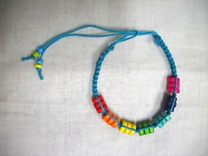 TURQUOISE BLUE MACRAME w COLORFUL WOOD BEADS BLUE GREEN RED TIE BRACELET ANKLET