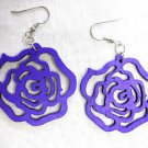 DEEP PURPLE CUT OUT ROSE FLOWER SILHOUETTE WOODEN DANGLING FLOWERS EARRINGS