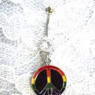 RAINBOW STRIPES GAY PRIDE PEACE SIGN 14g CLEAR CZ NAVEL BARBELL BELLY RING