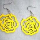 YELLOW CUT OUT ROSE FLOWERS TEXAS ROSE WOODEN DANGLING FLOWER EARRINGS