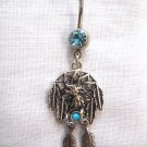 NATIVE TRIBAL WOLF HEAD DREAM CATCHER & 2 DANGLING FEATHERS TURQUOISE BLUE CZ 14g BELLY RING