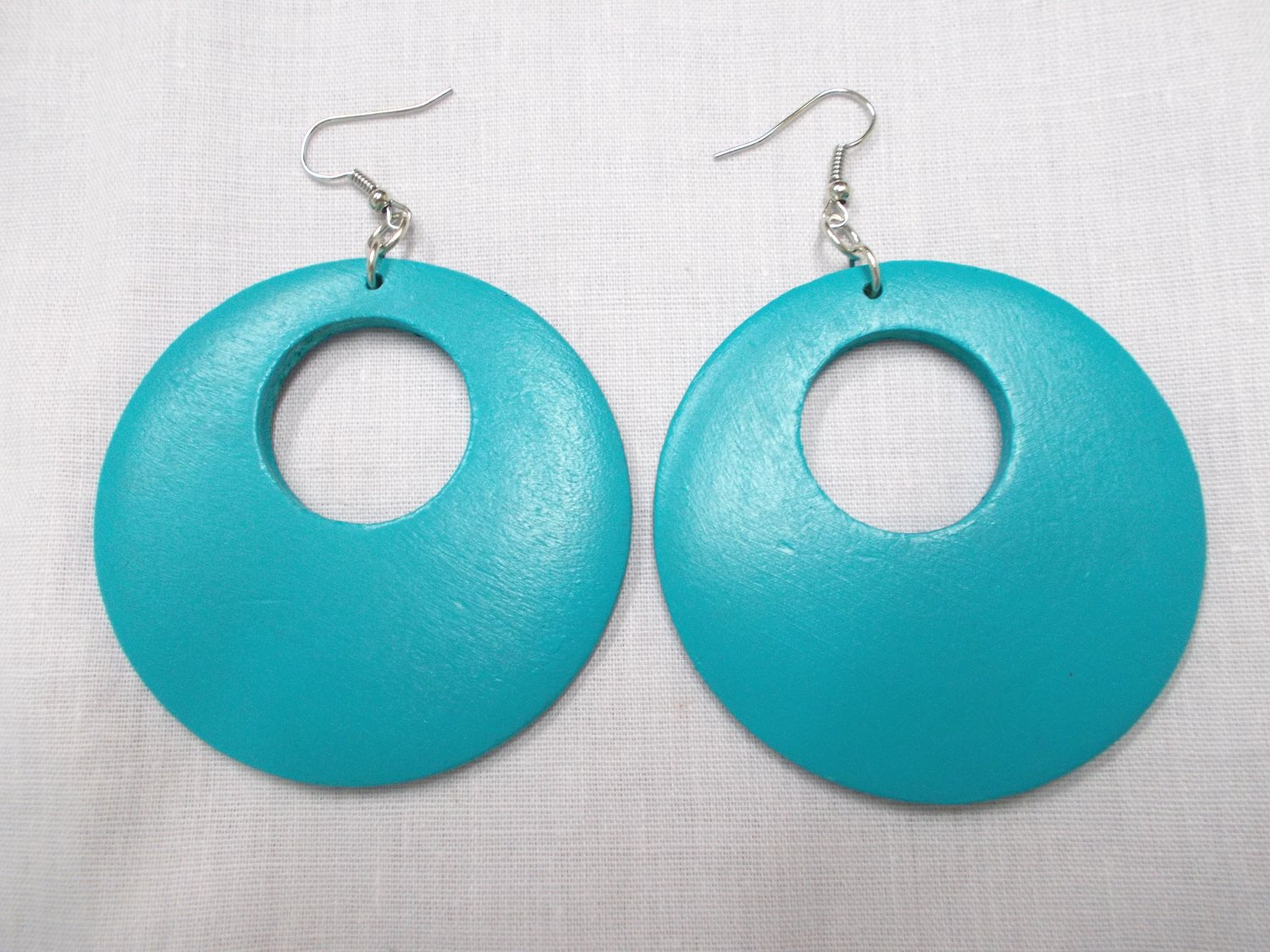 BIG SIZE LARGE TURQUOISE BLUE HAND PAINTED WOOD ROUND EXOTIC DANGLING FLAT HOOP EARRINGS