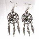 "VINTAGE PEWTER 3"" FULL BODY EAGLE DREAM CATCHER w 3 FEATHERS DANGLING EARRINGS"