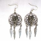 ANIMAL SPIRIT WOLVES - WOLF HEAD DREAM CATCHER DANGLING PEWTER EARRINGS