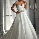 Ball Gown Sweetheart Duchess Satin Wedding Dresses with Elaborately Beaded Waistband