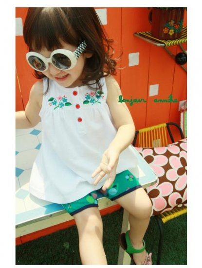 girls white long sleeveless t shirt 2T 3T 4T 6 NEW