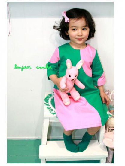 girls unique green and pink dress 2T,3T,4T, 6 NEW