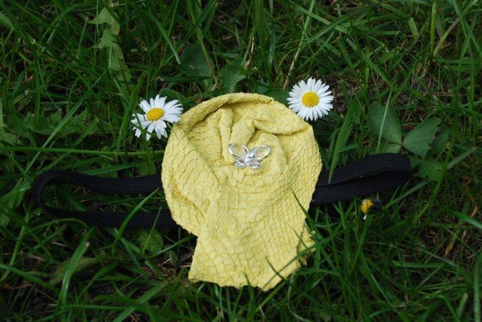 Yellow Salmon leather brooch / headband