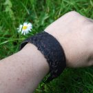 Black fish leather cuff Bracelet