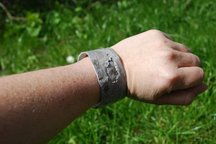 Wolffish leather cuff bracelet