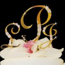 Gold Crystal Accented Monogram Cake
