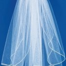 "1/8"" Satin Ribbon Edge Elbow Length Bridal Veil (VS E 1/8)"