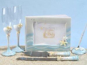 Starfish Beach Wedding Guest Book, Pen, Toasting Flutes & Cake Server