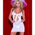 2 pc lace bridal chemise w/front ribbon opening & veil headband white o/s