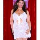 2 pc lace bridal chemise w/front ribbon opening & veil headband white qn