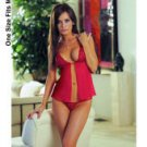 Applique cup mesh babydoll & g-string red o/s