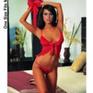 Babydoll & thong w/lace trim & fingerless gloves red o/s