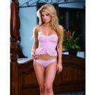 Knit chiffon & lace halter cami w/scalloped ruffled lace & open back panty w/ribbon tie pink o/s