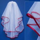 Veil with Red Satin Ribbon Edge Veil-655