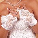 Satin Fingerless Wrist Length Bridal Gloves GL 9134-2W