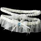 """Crystal Heart Garter """"Something Blue"""" G205 - White"""