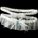 Sheer Organza Garter with Swarovski Crystal Heart G205-Ivory