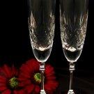 Wedding Toasting Crystal Flutes w/ Silver Stem 8713