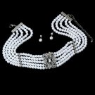 White Pearl and Crystal Bridal Jewelry Set NE 20121