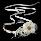 Gold Accented Ivory Ribbon Bridal Headpiece HP 8531 (Silver or Gold)