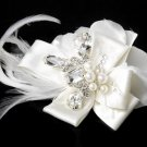 Silver Ivory Feather Ribbon Bridal Hair Clip HP 8249
