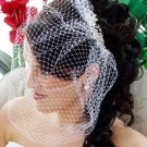 Birdcage Veil with Silver Elegant Pearl & Rhinestone Bridal Comb 8955