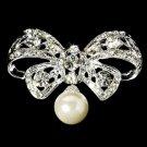 Crystal & Pearl Bow Bridal Brooch 3443
