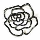 Cubic Zirconia Black Rose Bridal Brooch 6277