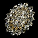Elegant Vintage Crystal Bridal Pin for Hair or Gown Brooch 13 Gold Clear