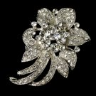 Elegant Vintage Crystal Bridal Pin for Hair or Gown Brooch 16 Silver Clear