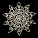 Elegant Vintage Crystal Bridal Pin for Hair or Gown Brooch 22 Silver Clear