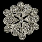 Elegant Vintage Pave Crystal Bridal Pin for Hair or Gown Brooch 25 Silver Clear