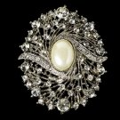 Elegant Vintage Crystal Bridal Pin for Hair or Gown Brooch 28 Silver Ivory