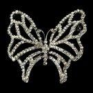 Silver Bridal Rhinestone Butterfly Brooch 414