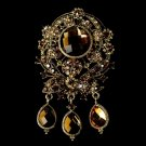 Large Gold Brown Crystal Celebrity Style Brooch for Gown or Hair - Brooch 8777