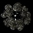 Large Black Crystal Celebrity Style Brooch for Gown or Hair - Brooch 8779