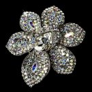 Large Silver AB Crystal Celebrity Style Brooch for Gown or Hair - Brooch 8798