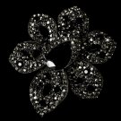 Large Black Crystal Celebrity Style Brooch for Gown or Hair - Brooch 8798