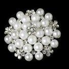 Silver White Pearl Rhinestone Bridal Brooch 31