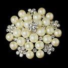 Silver Ivory Pearl Rhinestone Bridal Brooch 31