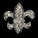 Silver Fleur De Lis Rhinestone Bridal Brooch 30339